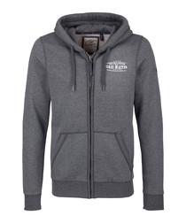 Dark grey cotton blend zip-up hoodie