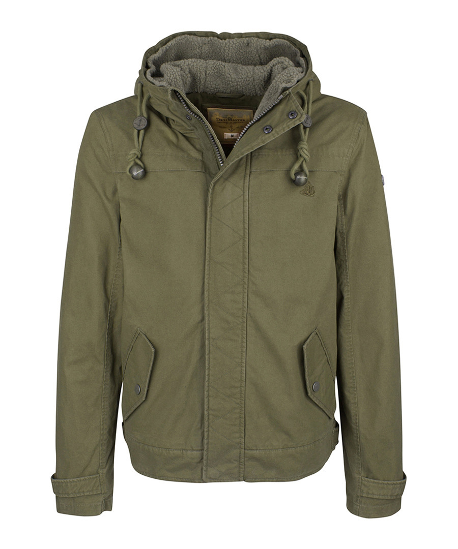 Olive pure cotton hooded jacket Sale - DreiMaster