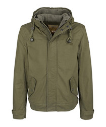 Olive pure cotton hooded jacket
