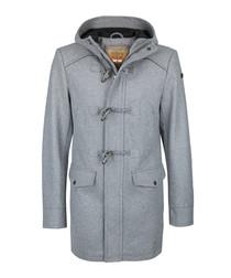 Grey cotton blend duffle coat