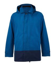Blue cotton blend hooded jacket
