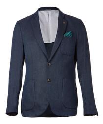 Dark blue pure linen blazer