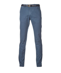 Steel blue cotton chinos