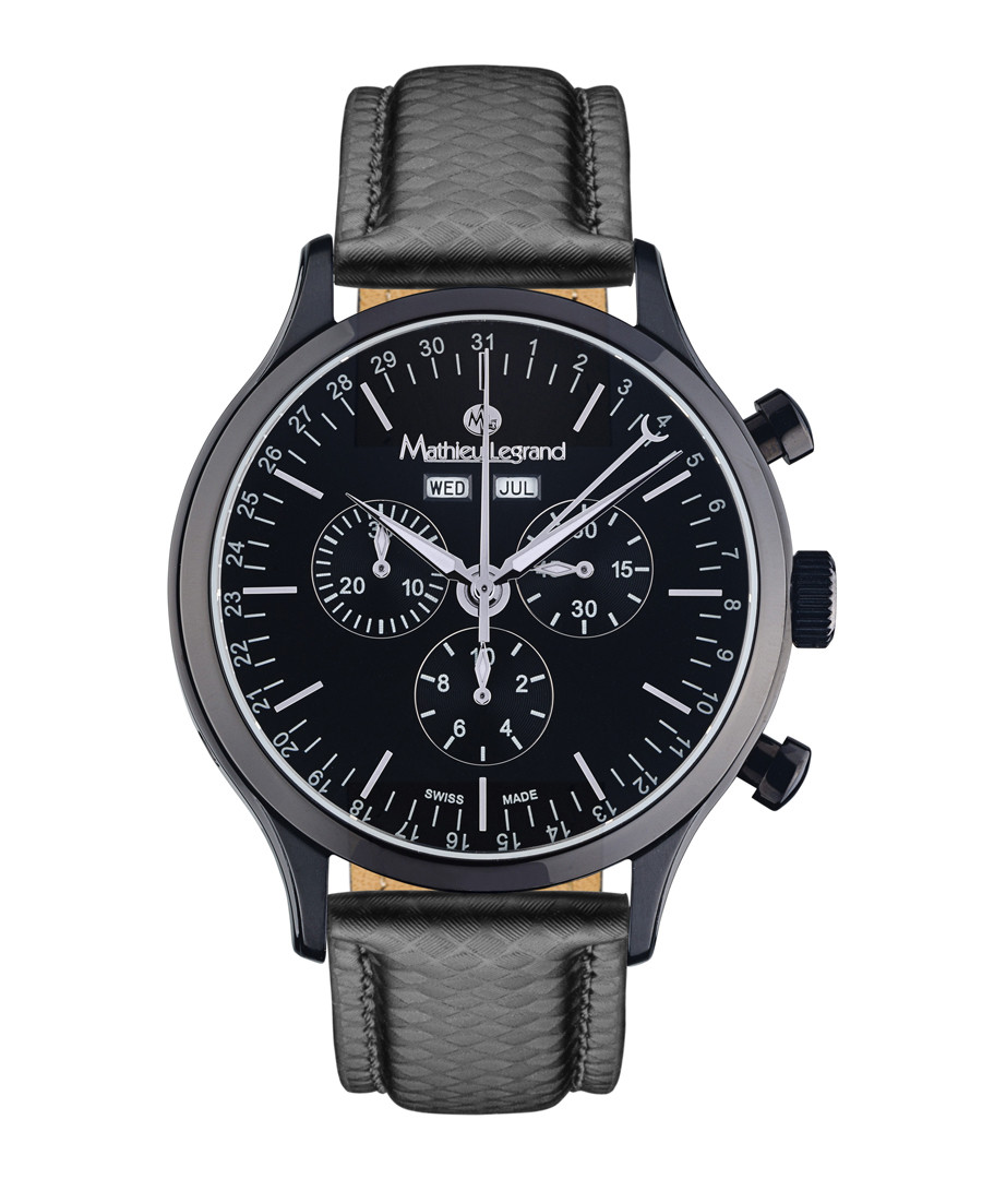 Tournante black steel & leather watch Sale - mathieu legrand