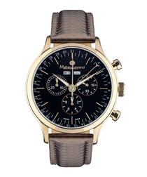 Tournante brown steel watch