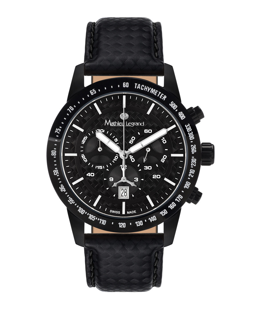 Grande Vitesse black leather watch Sale - mathieu legrand