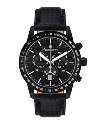 Grande Vitesse black leather watch