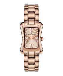 Papillon rose gold-tone rectangle watch