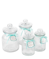 4pc Giles & Posner glass storage jars