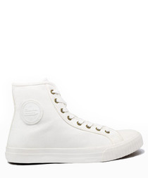 White canvas high top sneakers