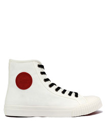 White & red canvas high top sneakers