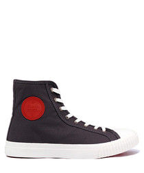 Grey & red canvas high top sneakers