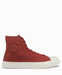 Wine & red canvas high top sneakers