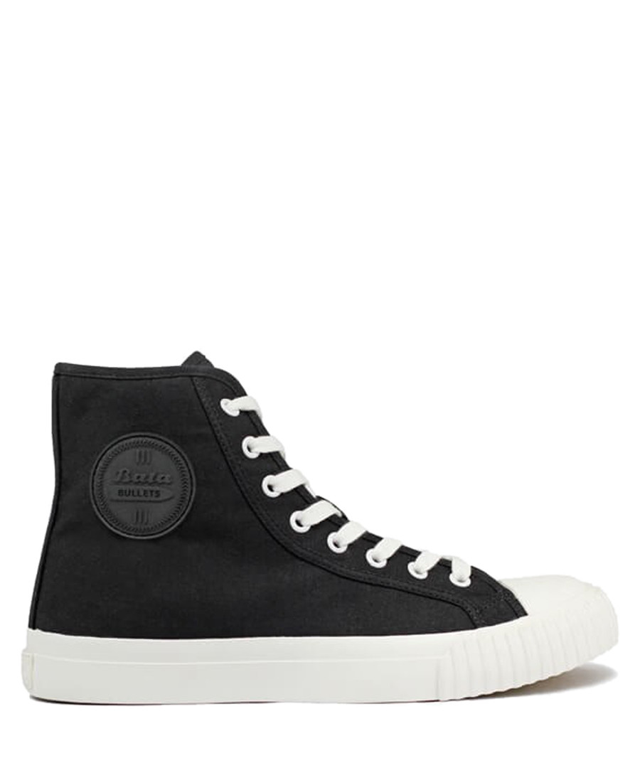 Black & off white canvas high top sneakers Sale - BATA