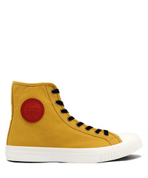 Gold & red canvas high top sneakers