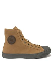 Camel & grey felt high top sneakers