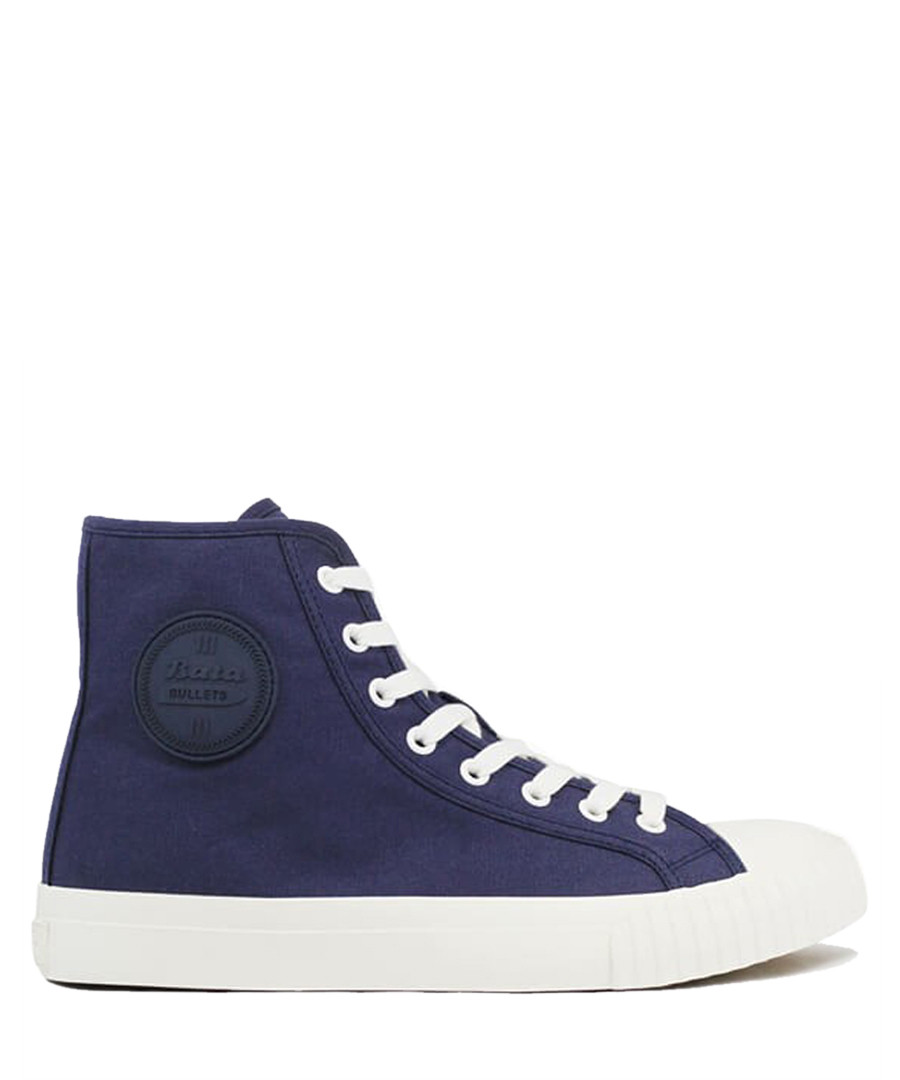 Navy & white canvas high top sneakers Sale - BATA