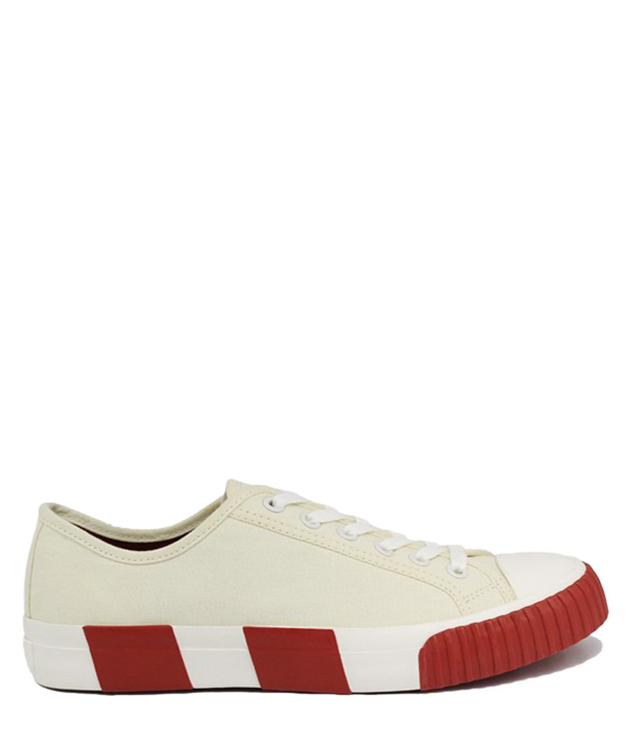 Off white & wine striped canvas sneakers Sale - BATA