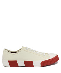 Off white & wine striped canvas sneakers