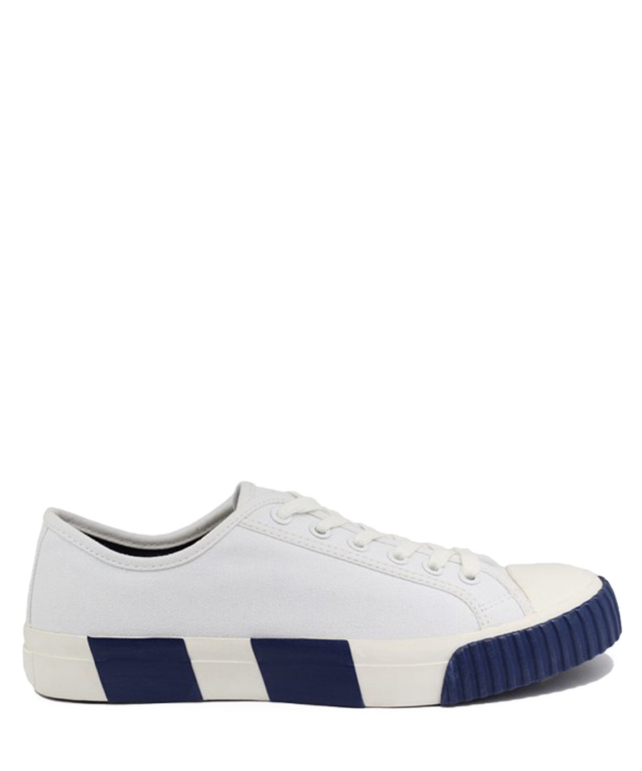 White & blue striped canvas sneakers Sale - BATA