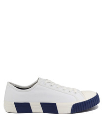 White & blue striped canvas sneakers