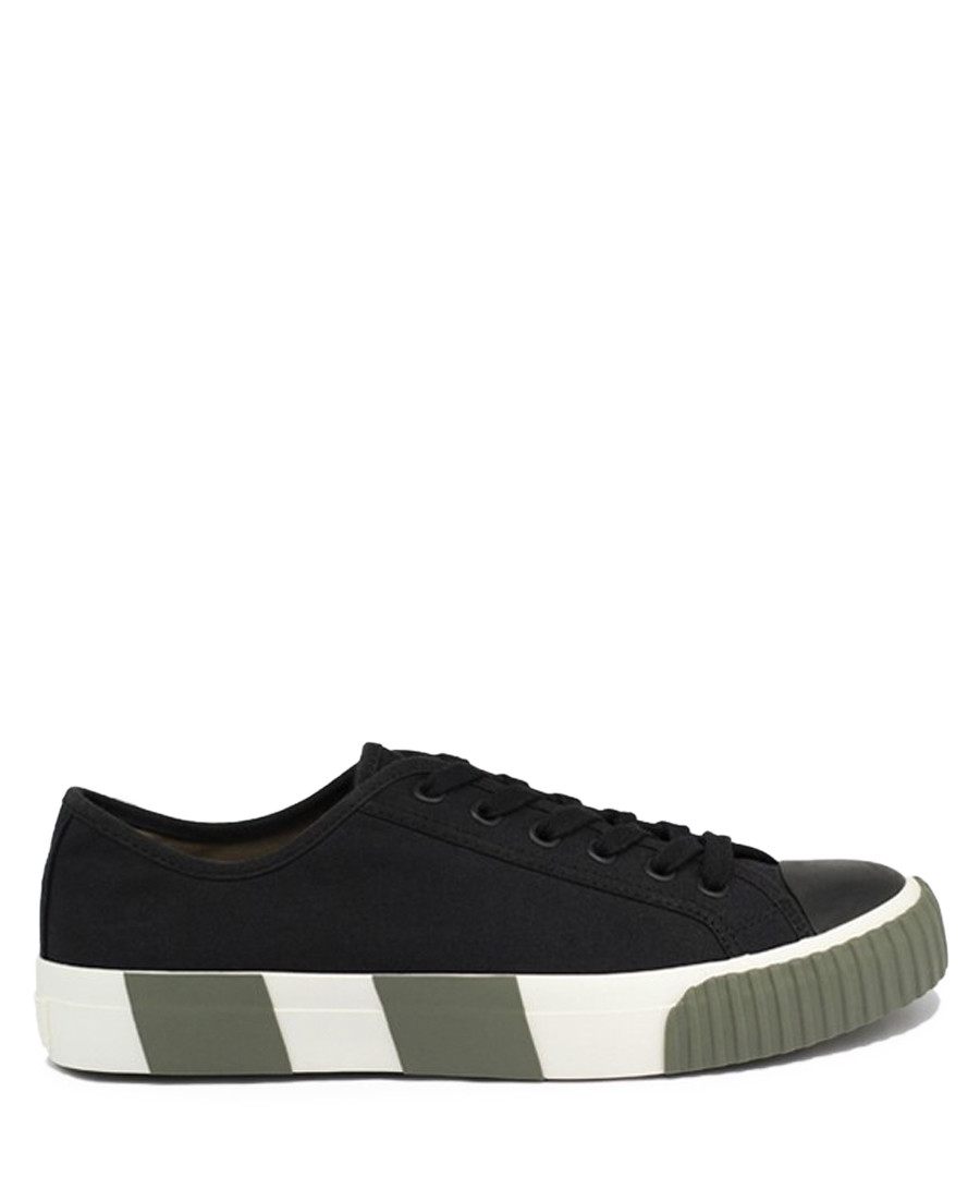 Black & olive striped canvas sneakers Sale - BATA