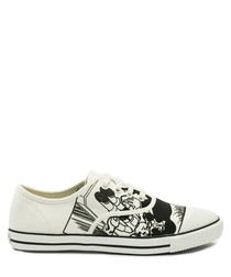 White & black canvas tennis sneakers