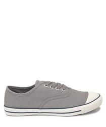 Grey canvas tennis sneakers