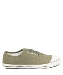 Olive canvas tennis sneakers