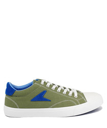 Olive & blue canvas sneakers