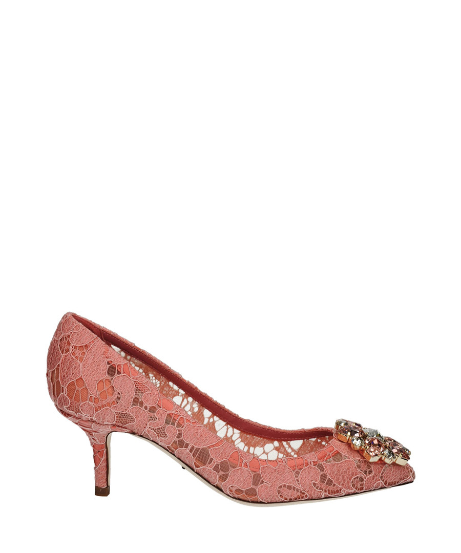 7ab8b503f4b8 Pink lace embroidered pumps Sale - DOLCE   GABBANA