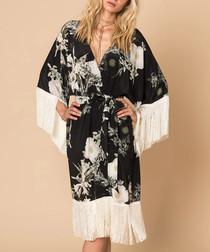 Black & white silk fringed kimono