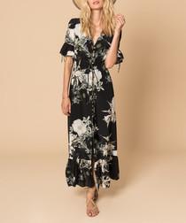 Black & white silk maxi dress