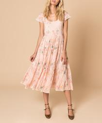 Careless whisper pink silk midi dress