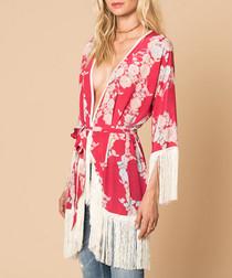 Heartbreaks short red silk fringe kimono
