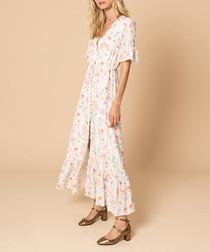 White silk button maxi dress