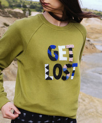 Khaki pure cotton embroidered jumper