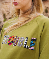 Khaki pure cotton embroidered jumper