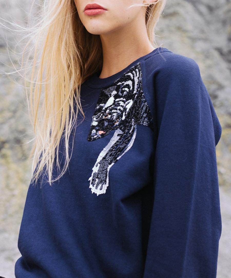 Navy pure cotton embroidered jumper Sale - Uzma Bozai