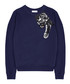Navy pure cotton embroidered jumper Sale - Uzma Bozai Sale