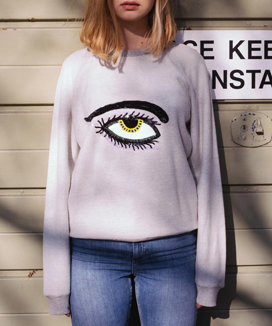 Ecru pure cotton embroidered jumper Sale - Uzma Bozai