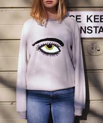 Ecru pure cotton embroidered jumper