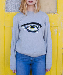 Grey pure cotton embroidered jumper