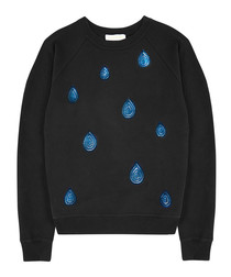 Black pure cotton tears jumper