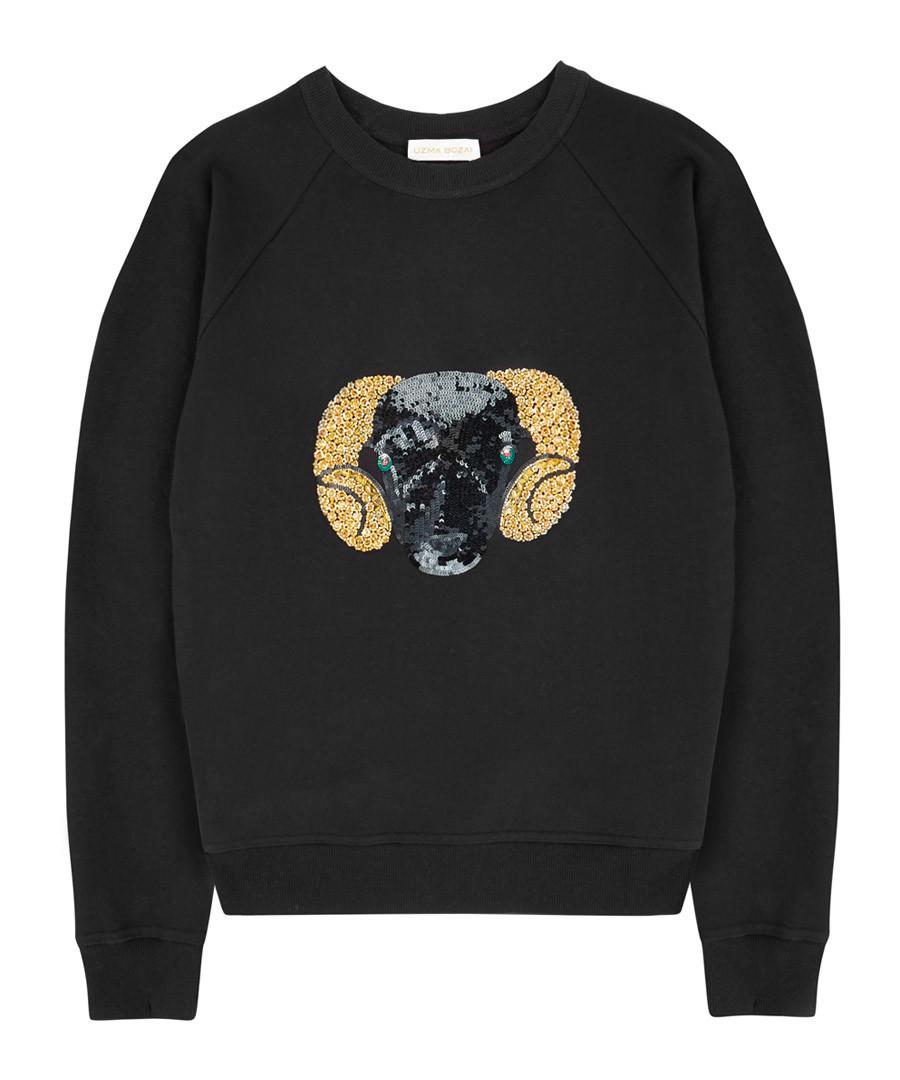 Black pure cotton embroidered jumper Sale - Uzma Bozai