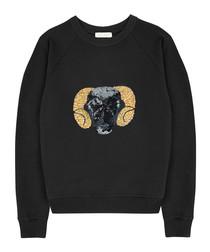 Black pure cotton embroidered jumper