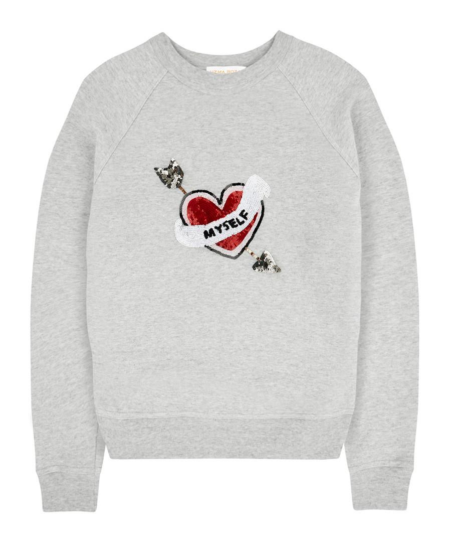 Grey pure cotton embroidered jumper Sale - Uzma Bozai