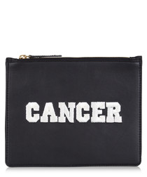 Cancer black & white leather clutch