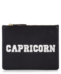 Capricorn black & white leather clutch