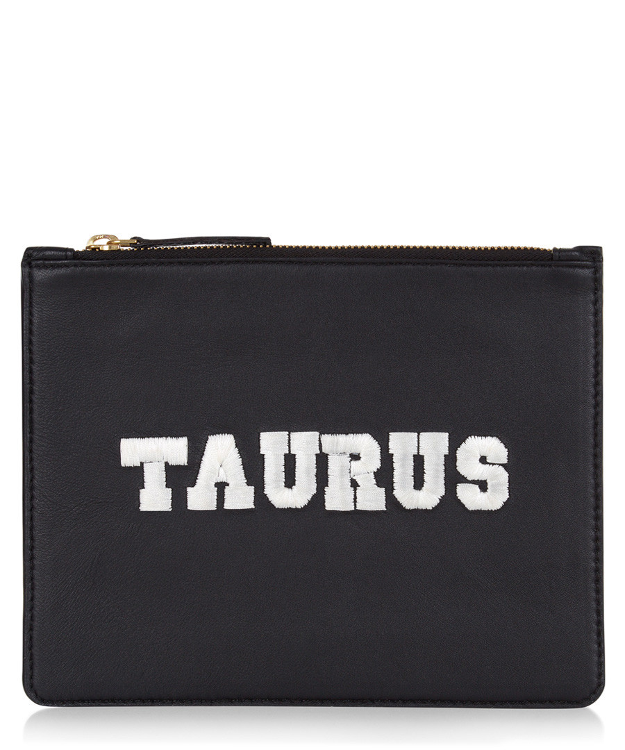 Taurus black & white leather clutch Sale - Uzma Bozai
